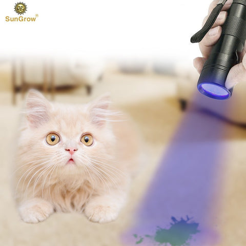 UV Flashlight for Dog Urine, Cat Stains, Bed Bug - 12 LED bulbs cover larger area - Waterproof - 3 AAA Batteries Included
