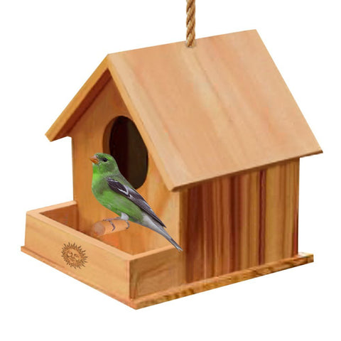 SunGrow DIY Paintable Bird House with Porch, Attracts Small Birds, Craft for Kids, Home Decor, Beautiful Gift for All Ages, Hang Bird Feeder Indoors or Outdoors, 1 pc