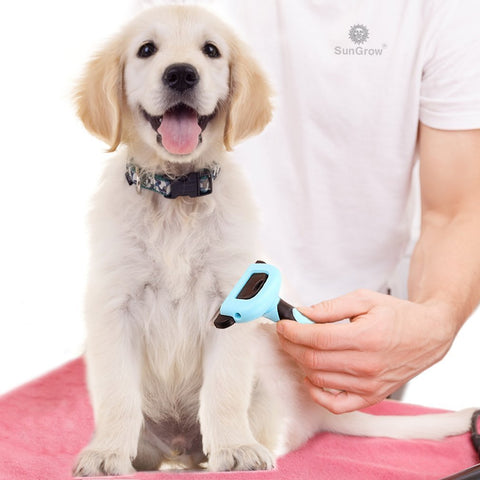 SunGrow Deshedding Brush, Vet Approved Grooming Tool, Stainless Steel Blades, 3-Minutes to Groom, Proven to Reduce Hair Shedding