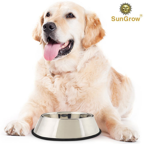 No Spill Feeding Bowl for Dogs and Cats - 32 Oz Jumbo Stainless Steel Vessel