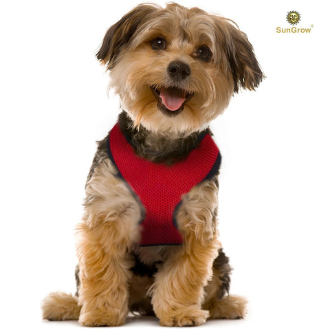 SunGrow Dog Harness and Leash, Adjustable from 25.6 to 31.5 Inches, Red Durable Nylon, No-Pull, Easy to Control Design, Securely Fits Medium and Large Breeds, Ideal for Collies and Huskies, 1 Set