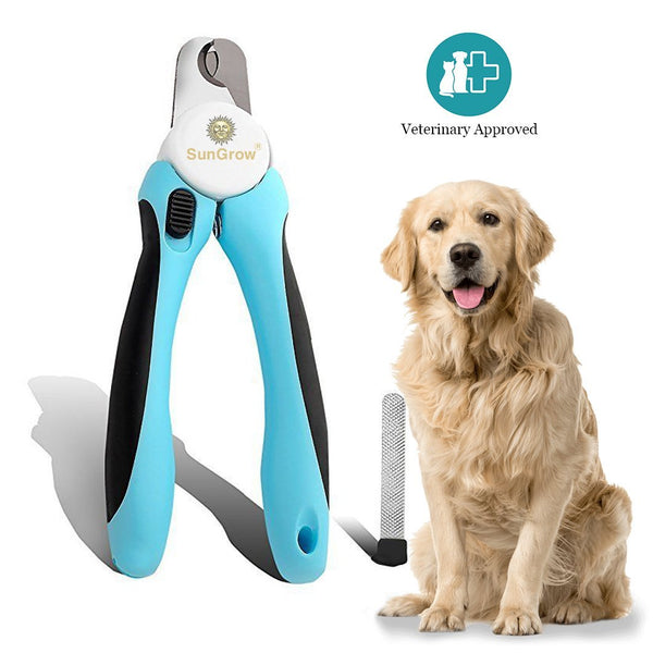 SunGrow No Pain Dog Nail Clipper & Trimmer, Safety Switch Lock to Restrict Over Cut, 5-minutes to Professional Grooming, In-built Nail file to Smooth Edge, Razor Sharp Blade for Clean Cut