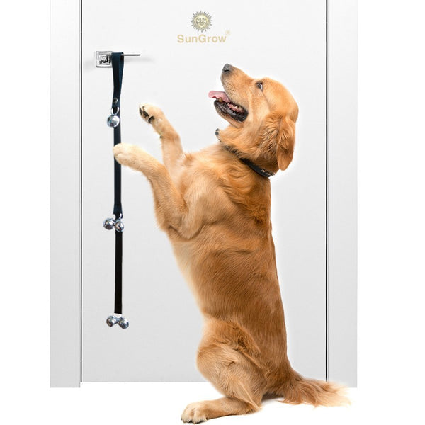 SunGrow Potty Door Bells for Dogs, 34 Inches Heavy Duty Nylon Bells for Door, Potty Train Your Puppy, House-Training Small, Medium & Large Pets, 3 Levels of Bell to Reach The Smallest Puppy, 1 Pack