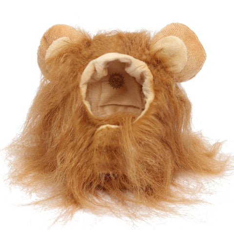 SunGrow Lion Mane Wig with Ears, Photo Prop, Fancy Costume for Large Dogs and Cats, Perfect Lion Hat for Halloween Parties, Realistic, Funny, Cute Headgear, Adorable Gift Option for Pet Lovers, 1-pc