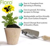 "Seed Starter Peat Pots Kit --- 15 Pack of 4"" Round, Biodegradable Seedling Planters from Floro - Reduces Plant Transplant Shock - Encourages Germination in Flowers, Fruits, Vegetables, Herbs and More"