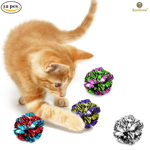 12 Pcs Mylar Cat Crinkle Balls by SunGrow: 1.5-2 Inches, Shiny and Stress Buster Toy, Lightweight and Suitable for Multiple Cats' Play, Ideal for Kittens and Adult Cats