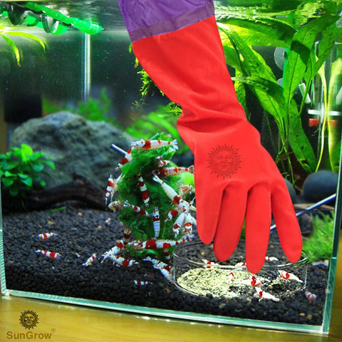 SunGrow Aquarium Water Change Gloves, 19.6 Inches Long, Anti Skidding Design, Keep Hands and Arms Dry, with Seamless Stitching and Elastic Cuff, Ensures Regular Fish Tank Maintenance, 70 Pack