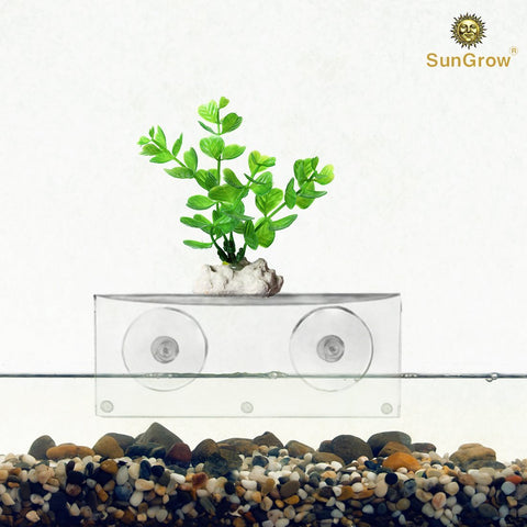 SunGrow Aquarium Shelf, 7-inches by 2.75-inches by 4.75-inches, Extra Level for Substrate and Live Plants, Crystal Clear Transparent Ledge, Holds up to 5 Pounds