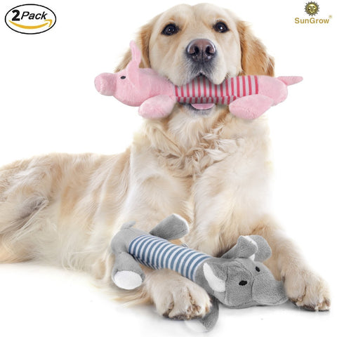 SunGrow Plush Squeaky Puppy Toys, 9 Inches Long and 2 Inches Wide, Dynamic Duo of Peppy The Pig and Elo The Elephant, Ideal for Pups Around 4 Pounds, Satisfies Chewing Instinct, 2 Pieces