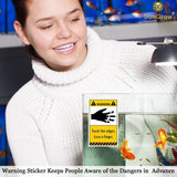 3 Stick on Aquarium Warning Stickers With Funny Graphics and Messages