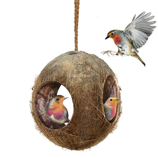 SunGrow Gecko Coconut Bird Hut, Nesting House for Cage or Patio, Finch, Canary, Sparrows' Feeder, Rough Texture Encourages Foot and Beak Exercise, Home Decor or Hanging Food Dispenser, 3-Hole