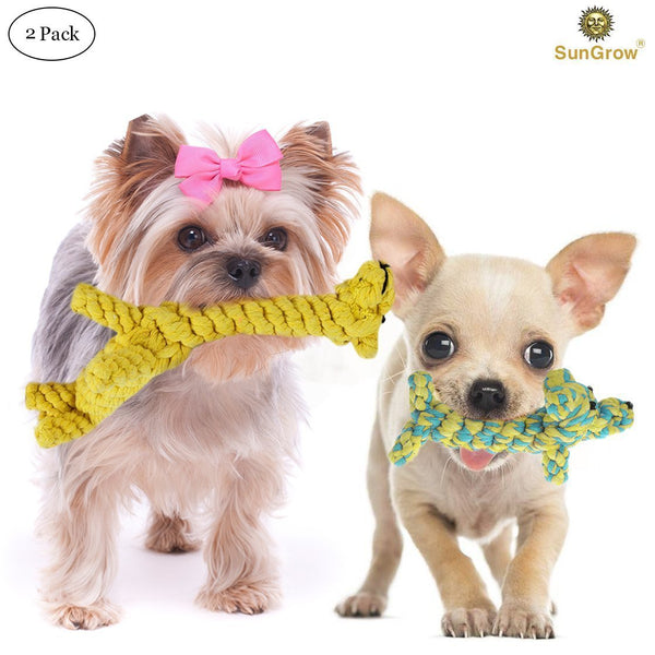 2 Cotton Puppy Toys - Natural Teeth Cleaning Chew Toy