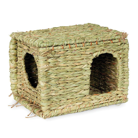 SunGrow Grass House, Woven Straw Hut for Sleeping and Playing, Stackable and Portable, Provides Comfort to Small Animals, Edible Home with Double Openings, Ideal for Chinchillas and Guinea Pigs
