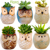 6 Owl Planter Pots --- Ideal as Succulent Plant Pots - Gorgeous Owl Design - Includes Drainage Hole - Flower or Bonsai Plant Ceramic Pots for Indoor/Outdoor - Offers All-weather Durability