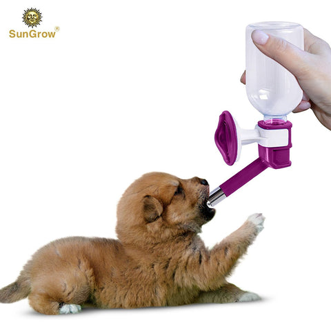 SunGrow Water Bottle, No Drip Pet Dispenser Bottle, Secure Nozzle and Stainless Steel Drinking Head, Easy to Install in Cage or Crate