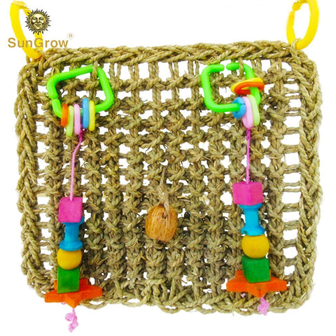 Bird Foraging Wall Toy with Hanging Hook - Seagrass Woven Mat Safe to Chew - for Beak Exercise and IQ Simulation of Small & Medium Bird - Tuck Treats in Waffle Ball or pod Cups - Long Lasting