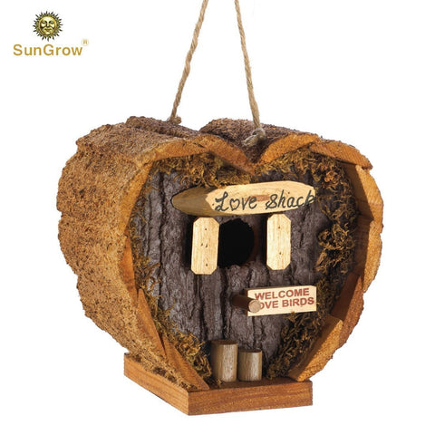 Heart Shaped Bird house - Decorative Rough Wood - Little Log Cabin Birdhouse - Perfect Gift for Newlyweds, Engagement , Housewarming , Honeymoon - Love Shack for Love Birds - Wooden Bird Feeder