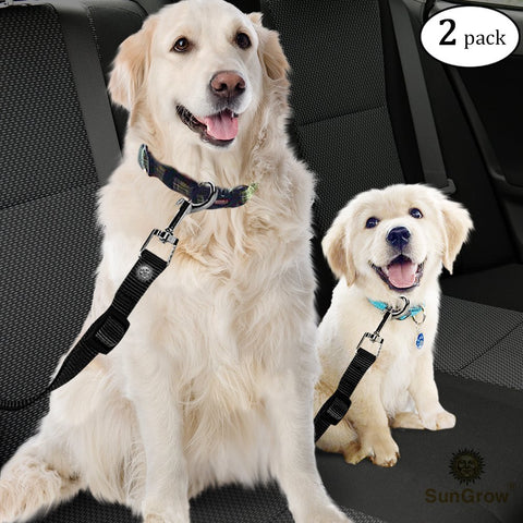 2 Dog and Cat Car Seat Belts --- Prevent Stress from Traveling in Crate/Kennel - Allow Breathing fresh air - No Risk of pets Jumping Out of the car Accidentally - Adjustable & supports all cars