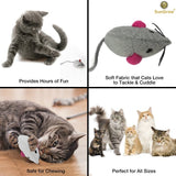 2 Cat Toy Mice with Bells -- Boosts natural hunting, pouncing instinct - Interactive,Durable, Safe to Chew - Sound of Bell Thrills, Promotes Agility, Coordination - Fun for Hours