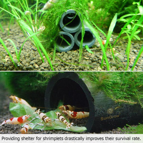 SunGrow 3 Handmade Brown Ceramic Shelters - Shrimp Habitat, Breeding Tube, Hiding cave - Hideaway Pipes Reduce Stress, Encourage spawning - Improves Tank Water Quality - Decorative Aquarium Accessory