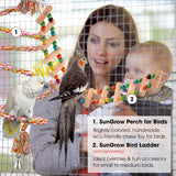 SunGrow Rope Perch for Parrots, 1.5 Meter Long, Bungee Bird Toy, Brightly Colored Handmade Chew Toy, Spiral Design with Jingling Bell, Ideal for Relaxing, Improves Balance, Coordination and Agility