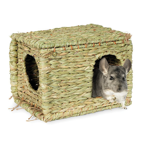 SunGrow Folding Woven Grass House for Rabbits, Guinea Pigs, Bunnies