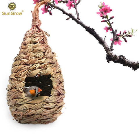 SunGrow Grass Bird Huts, 8.7x4.5 Inches, Cozy Resting Place, Hand-Woven Teardrop Shaped, Provides Shelter from Extreme Temperatures, Hideaway from Predators, Ideal for Finch and Canary, 1 Pieces