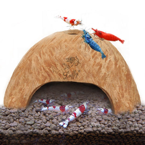 SunGrow Coco Shrimp Cave, Comfortable Shelter and Breeding Area for Crustaceans, Aquarium Decor, Ideal for Swimming in & Out, Encourages Shedding, 1 Pc