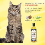 No more scratching with Shampoo + Conditioner -- 2-in-1 shampoo works on different coats, skin problems - Leaves fur soft and sleek, pleasant smell - Need few drops to form lather - Essential-oil rich
