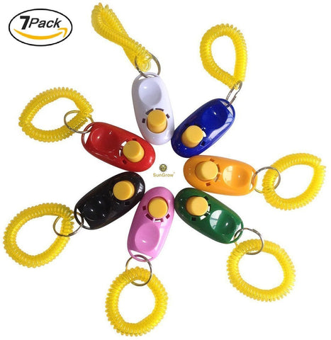 7 Dog Clickers - SunGrow 7 Dog Clickers with Wrist Bands - Colorful & Practical Set of Simple, Convenient & Effective Training Tools for Puppy or Cat - Humanized Scientific Professional Design - Perfect Size & Sound