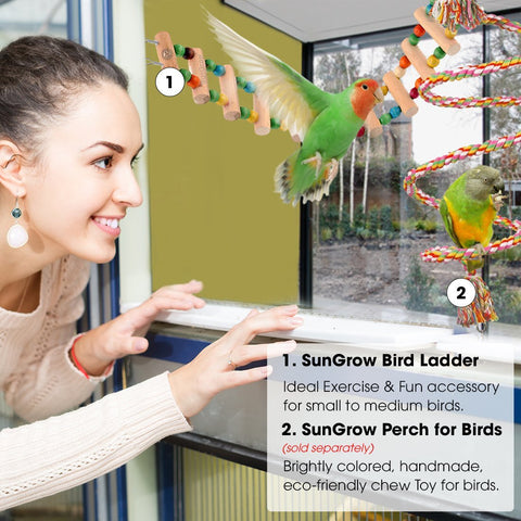Colorful Bird Ladder Bridge by SunGrow: Helps Birds with Balance, Made with Raw Wood and Edible Dye, Easy Installation, Bright, Durable and Flexible, Suitable for Small to Medium Birds