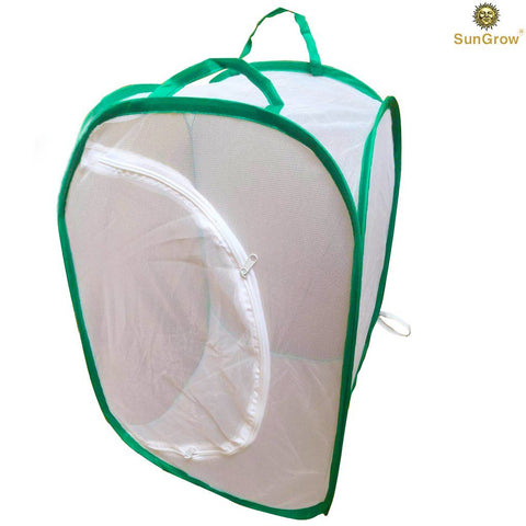 SunGrow Backyard Butterfly Cage Habitat, 24 Inches Tall by 16 Inches Wide, Collapsible, Pop-up Terrarium, Fine Mesh Stops Predator, 5 Mesh Panels for Ventilation, Large Zipper Opening