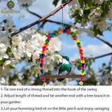 "SunGrow Hummingbird Swing Perch, 6"" x 8.5"", Wooden Dowel Makes for Resting Spot, Colorful Beads Adds Charming Accent to Garden, 1-Piece"