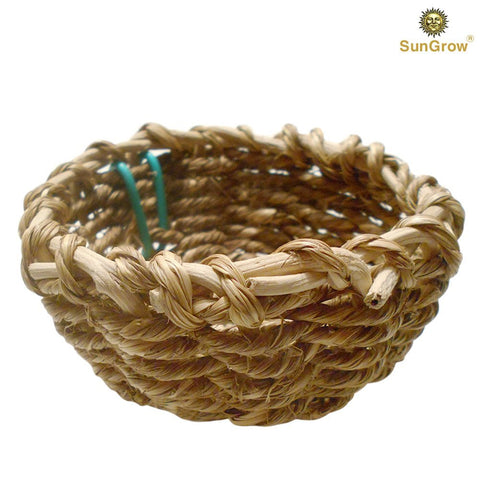 SunGrow Seagrass Nest for Birds, Approximately 4 Inches in Diameter, Encourages Courtship, Breeding and Nesting, 2 Metal Hooks Included, Safe for Canary, Finch, Parakeet