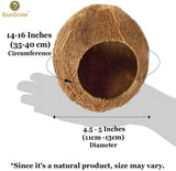 SunGrow Coconut Shell House for Hamsters, 14-16 Inches Circumference, Raw Coco Husk, Pet Hiding House, Climber or Chew Toy, for Mice, Rats, Gerbils, 30 pcs