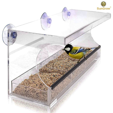 Window Bird feeder with Transparent Protective roof from rain and snow