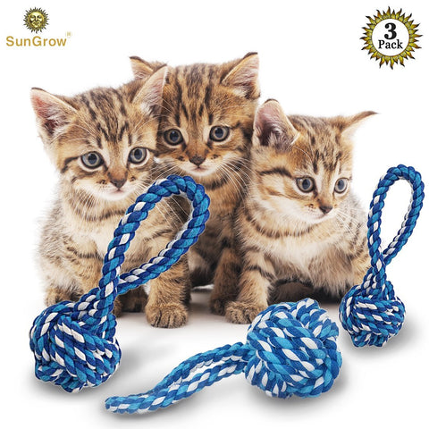 Rope Ball Chew toy for Cats, Kittens and other pets by SunGrow