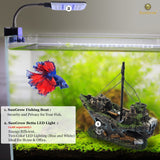 SunGrow Shipwreck for Betta Fish, Made of Resin, Creates Healthy Environment for Aquatic Pets, Boat Aquarium or Home Décor, 1-pc
