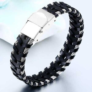 "316L Stainless Steel & Leather ""Braided Cable"" Biker Bracelet - Blown Biker - 1"