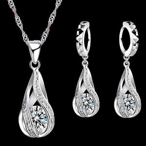"925 Sterling Silver ""Water Drop"" Necklace/Earrings Jewelry Set - Blown Biker - 1"