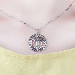 "925 Sterling Silver ""Family Tree"" Pendant Necklace - Blown Biker - 4"