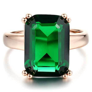 "18k Rose Gold Plated ""Big Emerald"" Ring - Blown Biker - 1"
