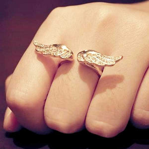 "Rhinestone ""Golden Wings"" Womens Ring - Blown Biker - 1"