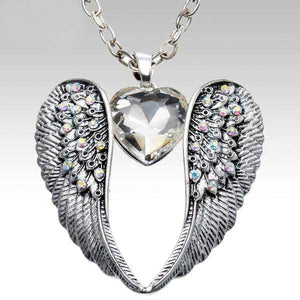 "Antique Silver ""Angel Wings Crystal"" Pendant Necklace"