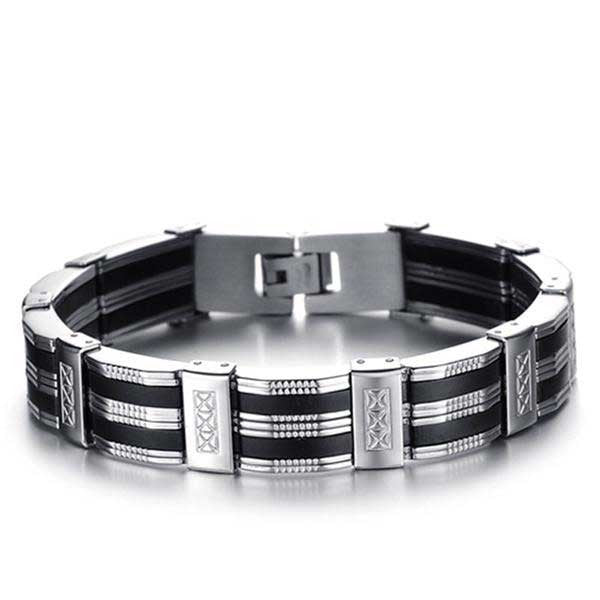 "316L Stainless Steel ""Silicone Ribbons"" Bracelet - Blown Biker - 1"