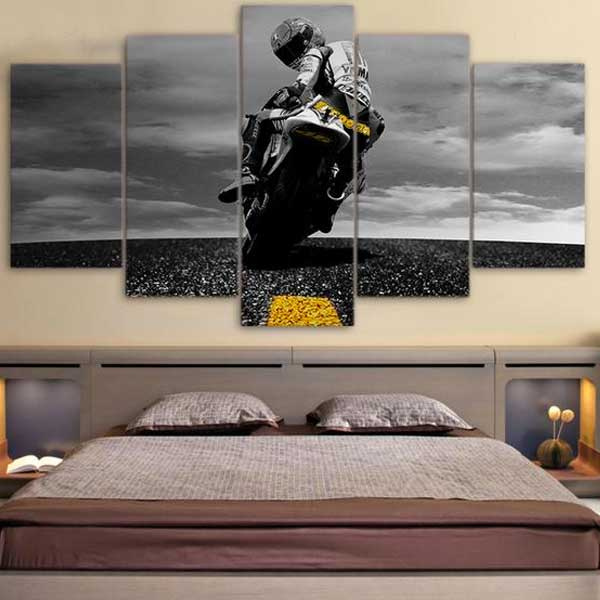 "5 Piece ""Biker"" Printed Wall Canvas Set - Blown Biker - 2"