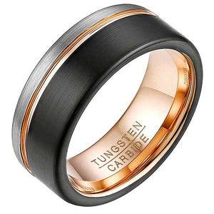 "Rose Gold Tungsten Steel ""Layers"" Unisex Ring"