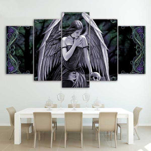 "5 Piece ""Angel Wings"" Printed Wall Canvas Set - Blown Biker - 1"