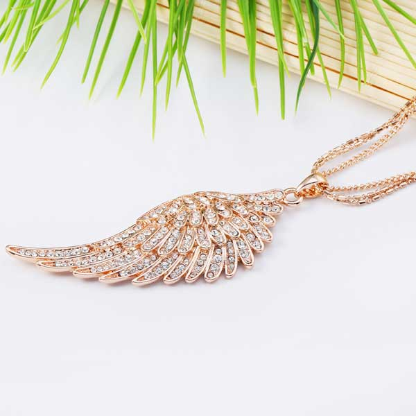 "Rose Gold Angel Wings ""Feather"" Pendant Necklace - Blown Biker - 1"