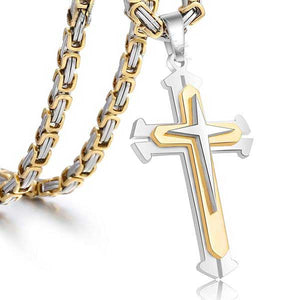 "316L Stainless Steel 3 Layer ""Knights Cross"" Necklace - Blown Biker - 1"